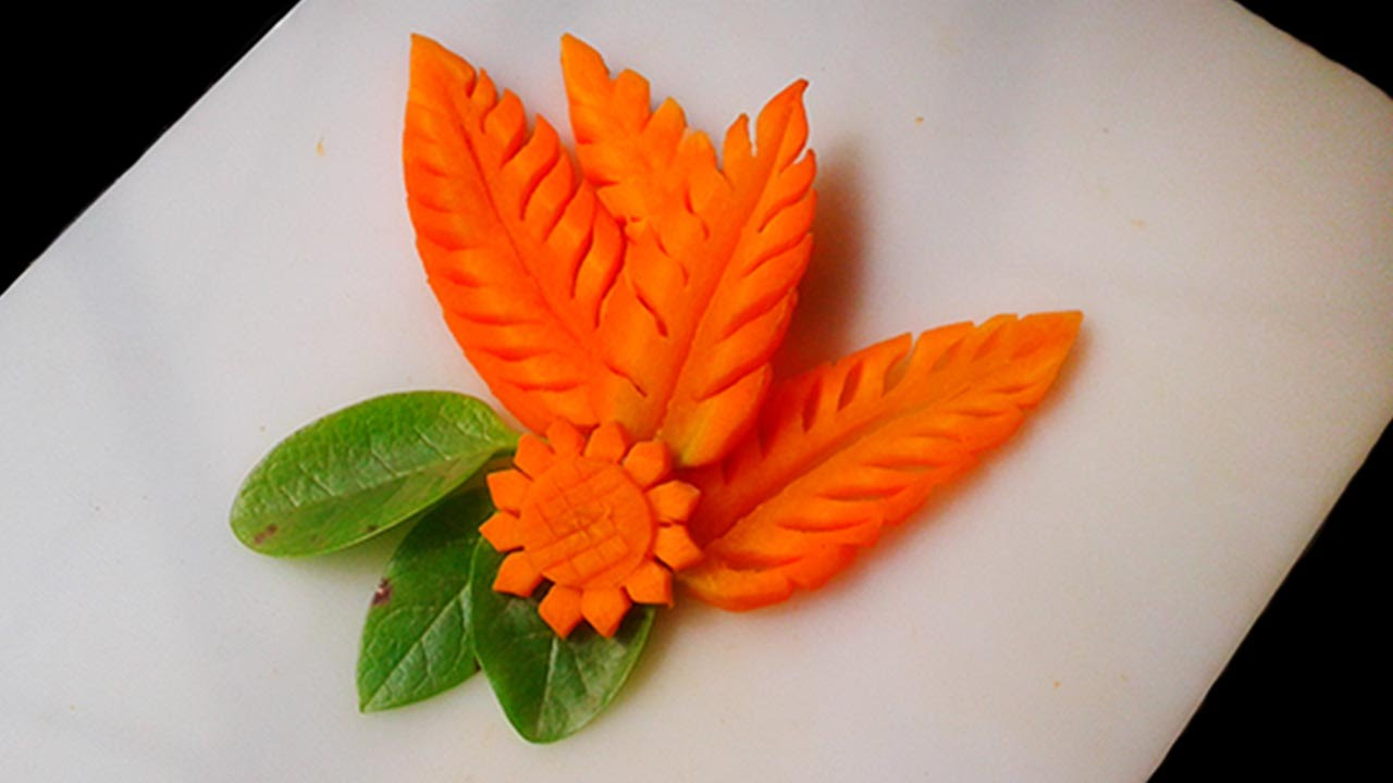 Simple carrot leaf design 3 beautiful designs fruit vegetable carving youtube