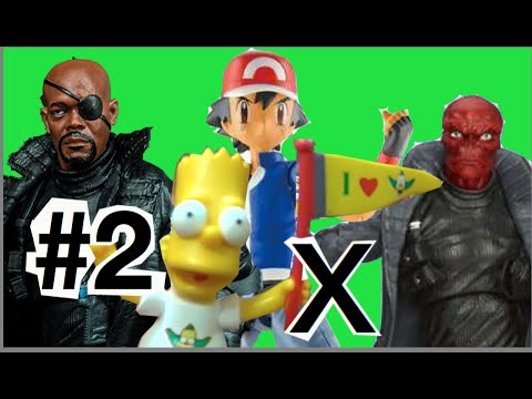 #2 Abrindo Nick Fury SHIELD Marvel Bart Simpsons Ash Pokemon  X  Caveira Vermelha Red Skull Toys