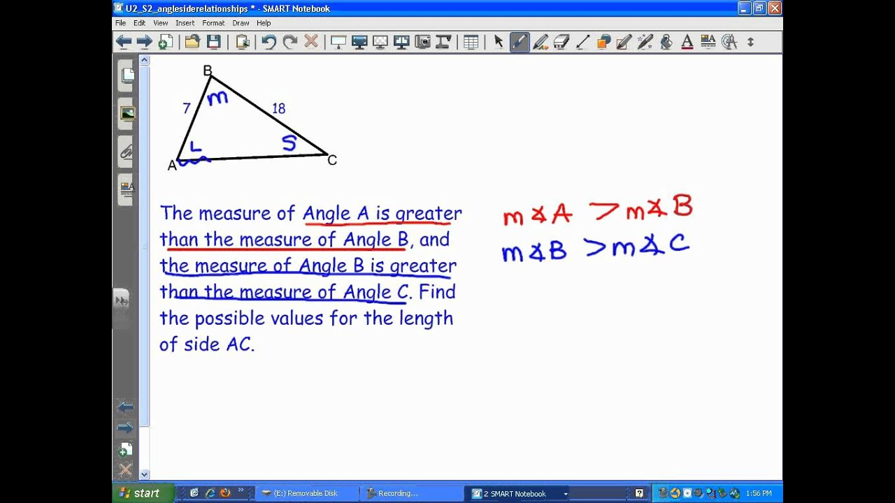 Triangle Inequality & Angle-Side Relationship (video lessons With Triangle Inequality Theorem Worksheet