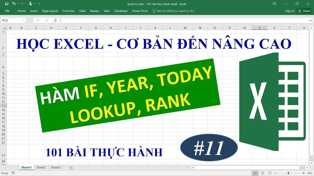 Học Excel từ cơ bản đến nâng cao – Bài 11 Hàm Rank, Lookup, IF, Today, Year