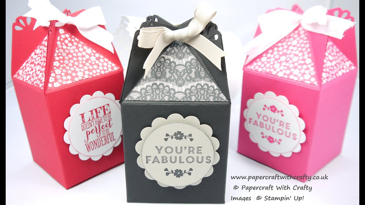 Box With Pretty Punched Lid Using The New Curvy Corner Trio Punch