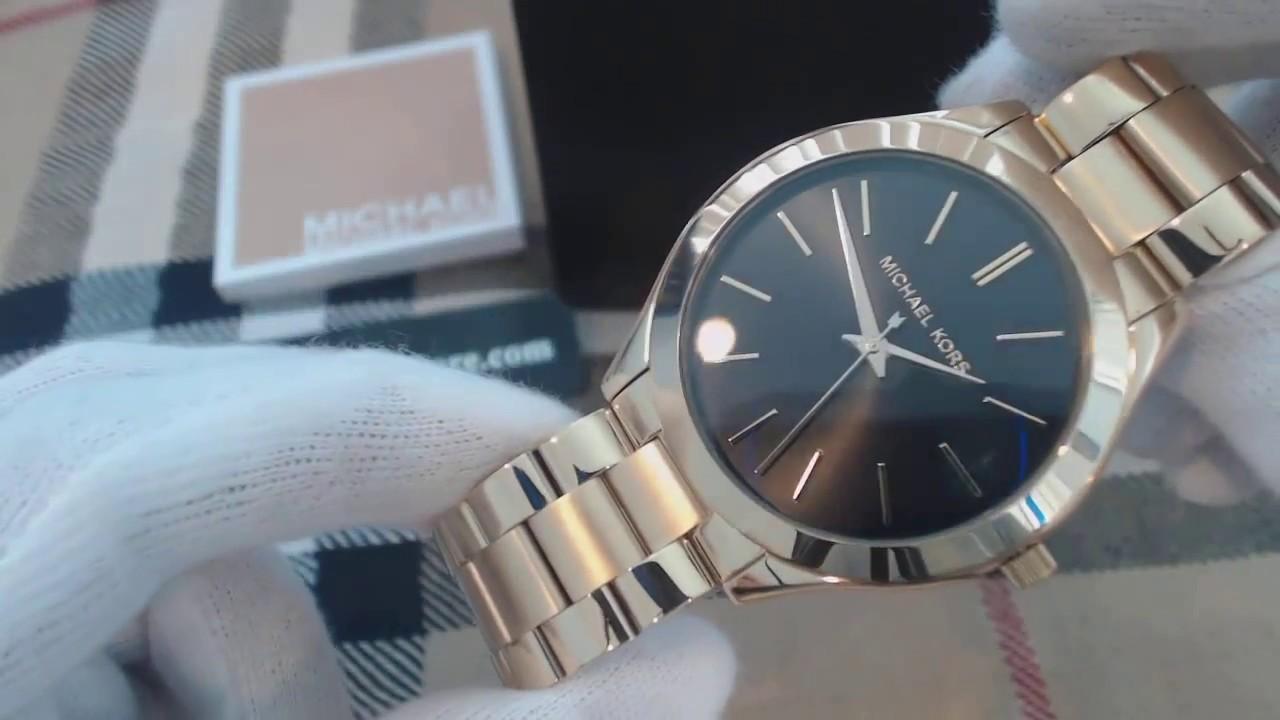 da2a8a729eb8 Women s Michael Kors Slim Runway Gold Tone Steel Watch MK3478 - YouTube
