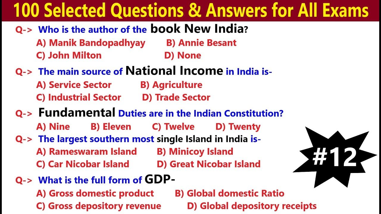 100 Selected GK Questions & Answers for all Exams | India ...