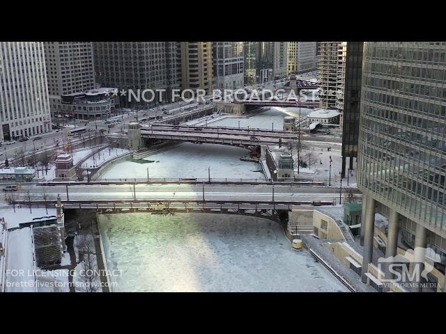 1-31-2019 Chicago, Il Drone video over frozen Chicago River, sunrise Timelapse  on Lake Michigan 4k