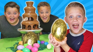Giant Chocolate Fountain Fondue Challenge Surprise Hidden Egg Toy Kids Freak Out Super Gross Candy!