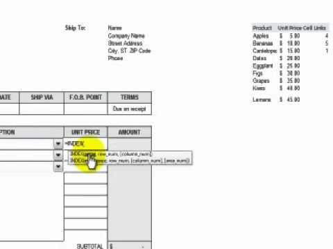 How to Add a Combo Box Control to an Excel Invoice Form