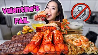 LOBSTER TAILS + STEAK + SHRIMP SCAMPI PASTA SIZZLER MUKBANG 먹방 | Eating Show