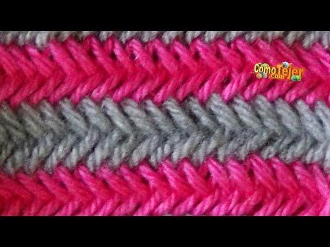 C mo tejer punto espiga en colores herringbone stitch 2 - Puntos para tejer ...