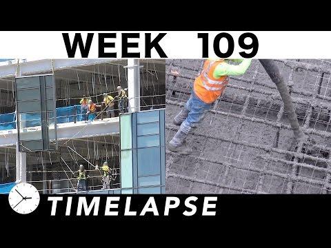 Construction time-lapse with 31 closeups: Week 109: Glass Mon-Fri, concrete pour on Saturday