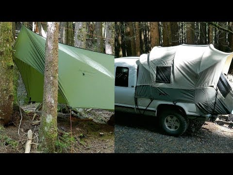 Kodiak Canvas Truck Tent and Warbonnet ThunderFly Tarp Overnight Previews