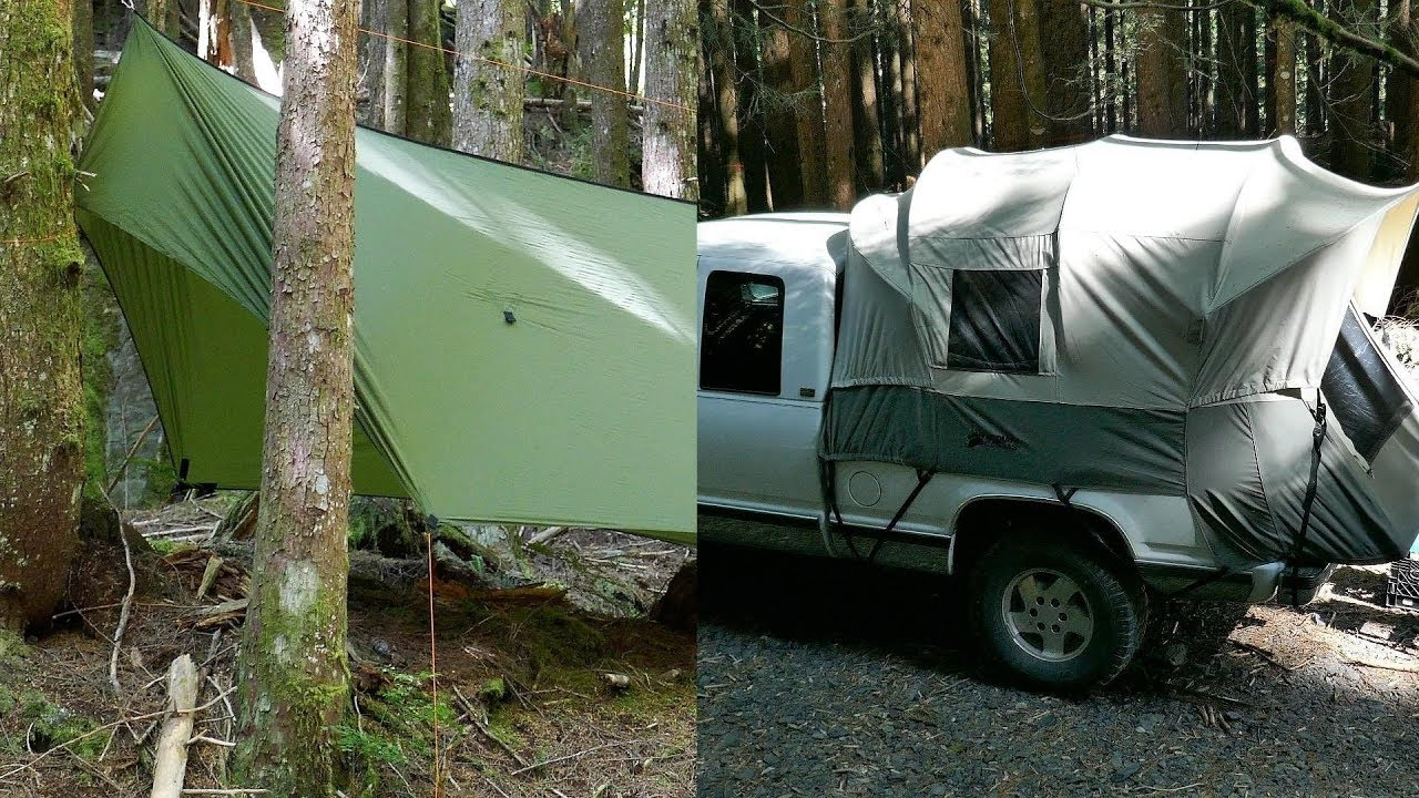 Truck Bed Tarp >> Kodiak Canvas Truck Tent and Warbonnet ThunderFly Tarp Overnight Previews - YouTube