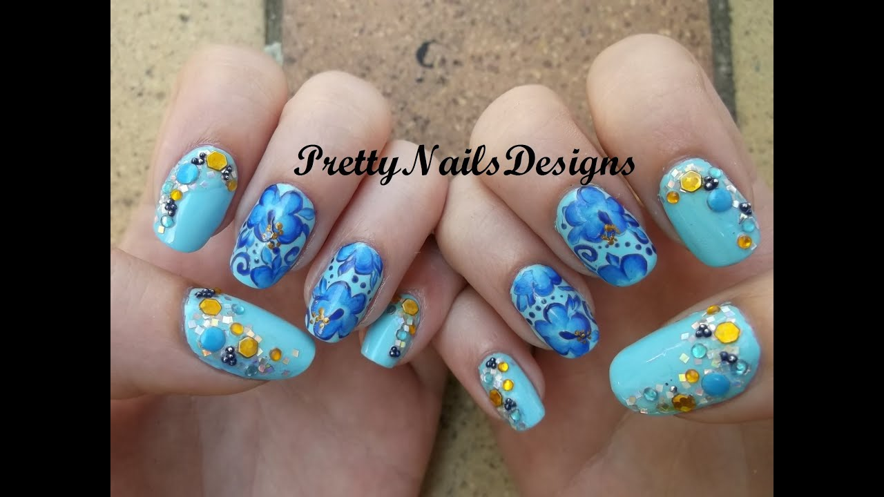 Classy Blingy One Stroke Blue Hibiscus Nail Art Youtube