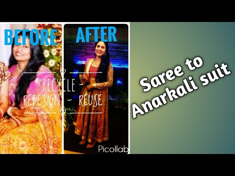 Convert Saree into Anarkali Dress In Hindi / Indian Dress Design Ideas For Women Using Old Sarees
