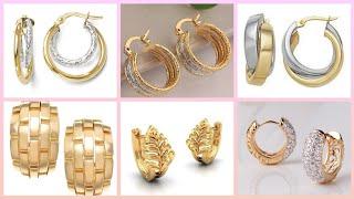 Stunning Designer's Light Weight Gold Studs Earrings & Hoop Earrings Designs