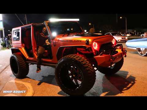 WhipAddict: Red Wrapped Jeep Wrangler, Right Side Drive, 26x16s Off Road Wheels, Custom Front & Hood