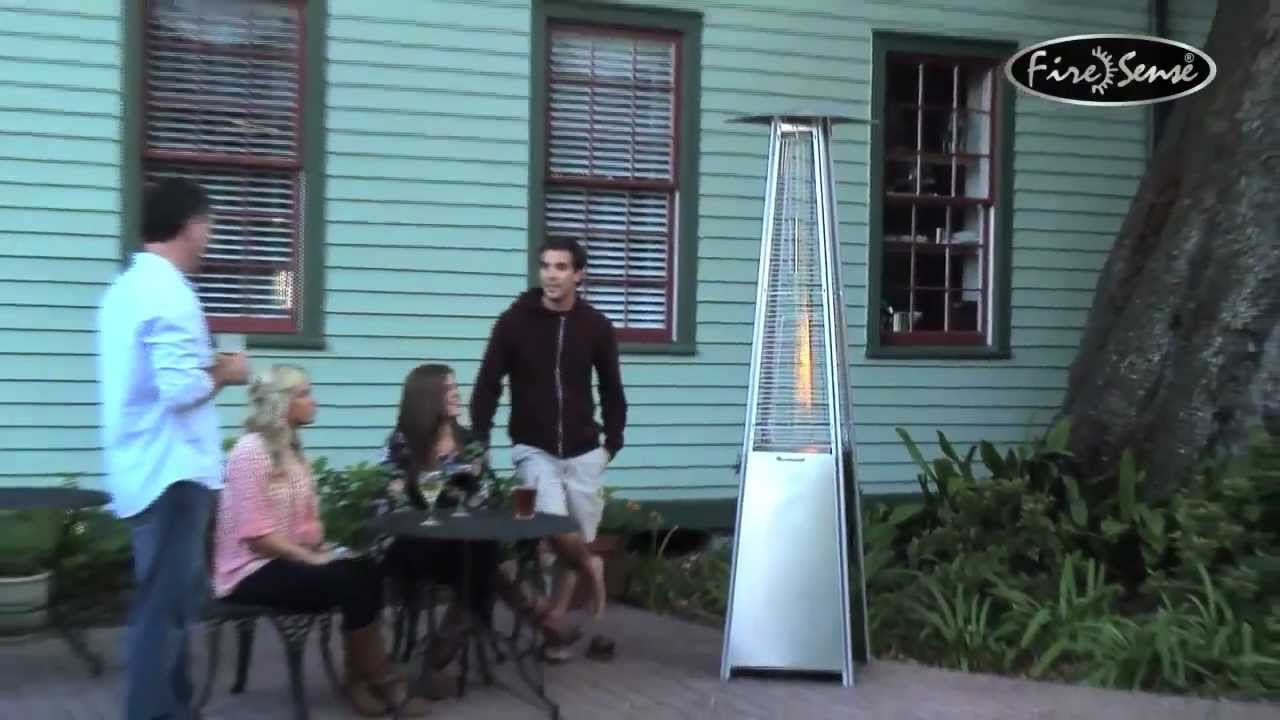 Stainless Steel Pyramid Outdoor Patio Real Flame Tower Heater  YouTube