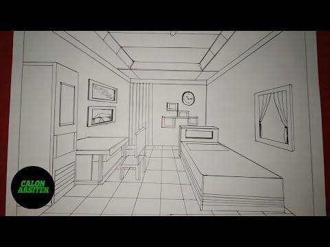 Menggambar Interior Rumah Kamar Satu Titik Hilang Lenyap Calon Arsitek Youtube