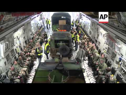 US Military Transporter Takes French Troops And Equipment To Mali
