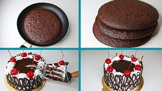 Black Forest Cake In Fry Pan | Eggless & Without Oven | Eggless Black Forest Cake
