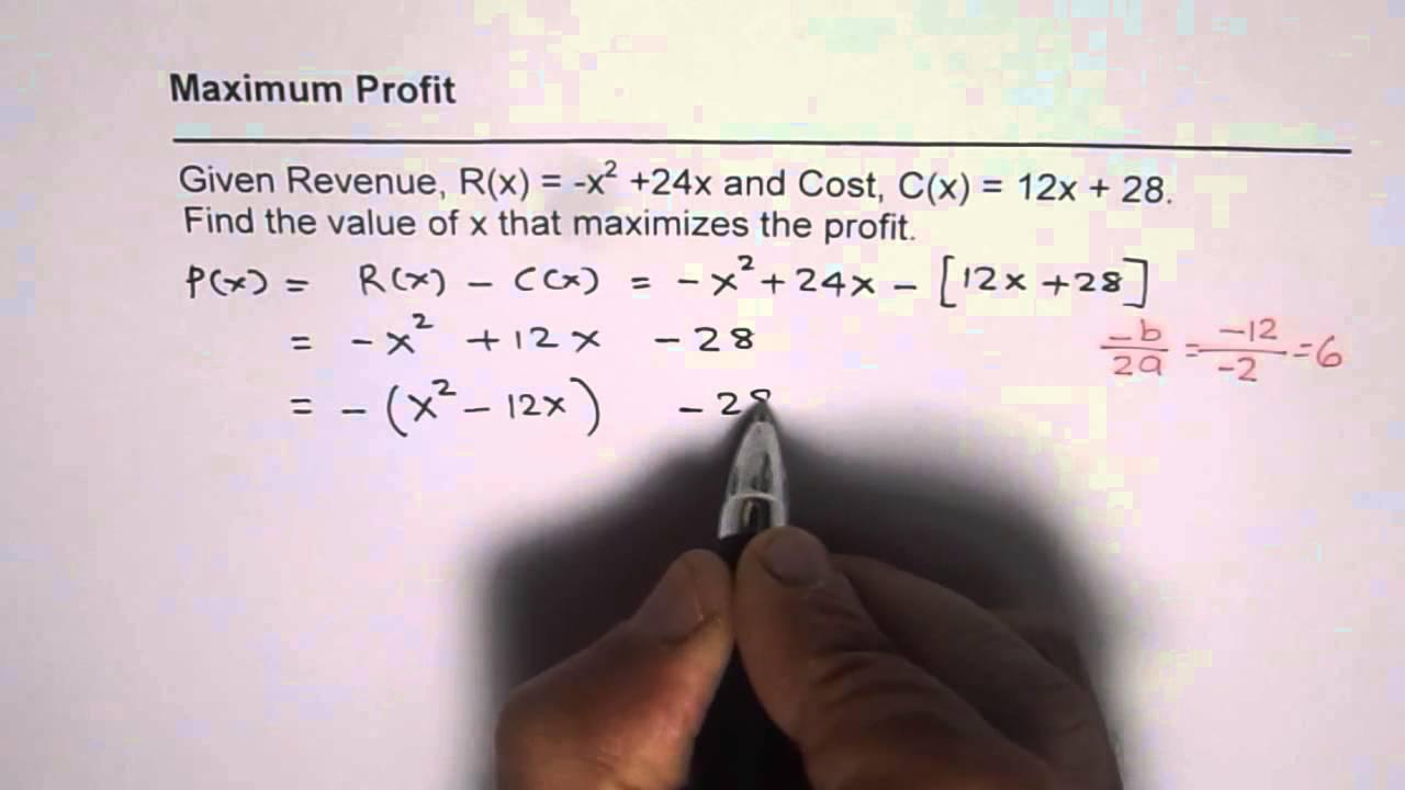 maximum profit in the real world quadratic functions