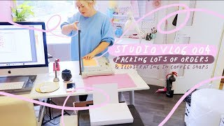 STUDIO VLOG 004 | Packing Lots of Etsy Orders | Illustrating in Coffee Shops | Making Bookmarks
