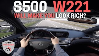 2006 Mercedes-Benz S500 387 HP W221 | POV Acceleration AUTOBAHN + POLICE (60FPS) HD