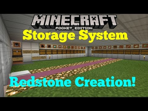 Minecraft Pocket Edition 0.14.0 BETA - Automatic Storage & Sorting System! - Redstone Creation