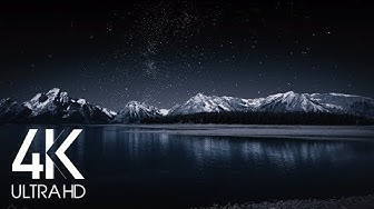 8 Hours Nighttime Ambience - 4K Grand Teton and Milky Way - Nature soundscapes