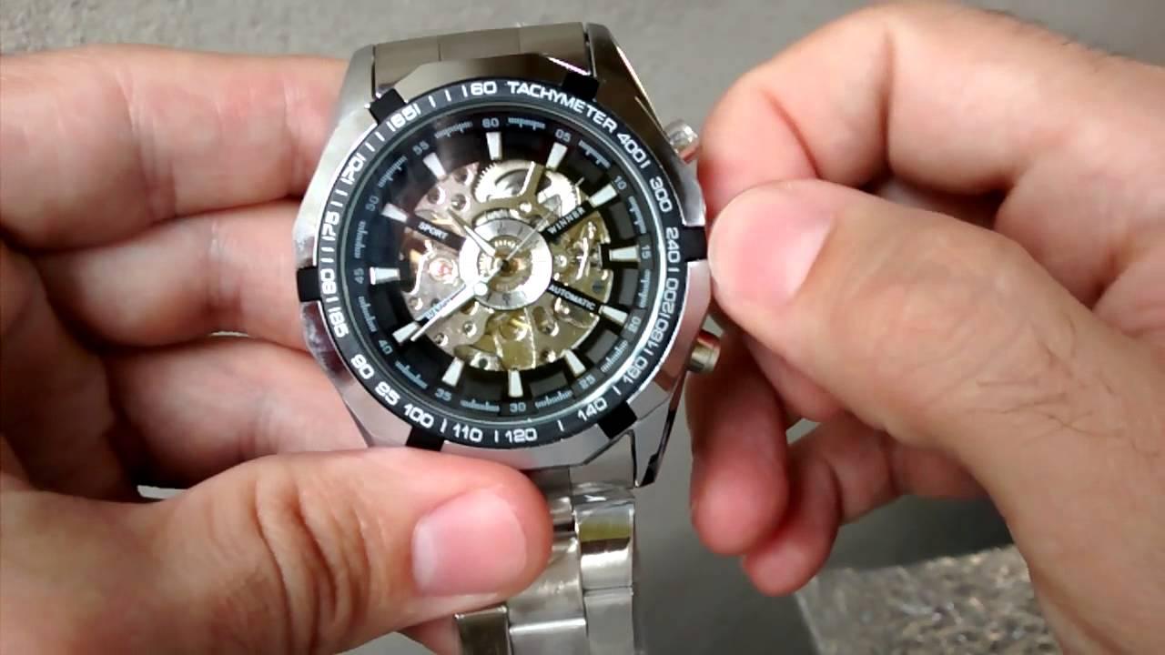91602d7bcaa Relógio Winner Pulseira De Aço Automático Importado - YouTube