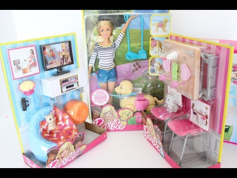 A Lot Of Goodies For Barbie Doll House Unboxing/Furniture,Dogs And Cats