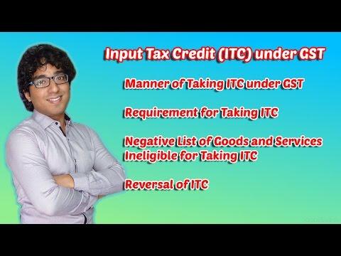 Input Tax Credit (ITC) under GST