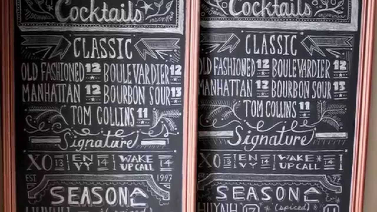 Insomnia restaurant lounge chalkboard menu art youtube for Artistic cuisine menu