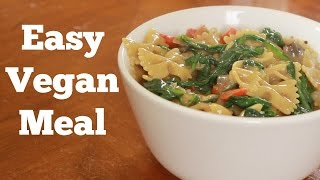Creamy Mushroom & Spinach Pasta Skillet Recipe   Vegan Family Meals ~ Brown Vegan