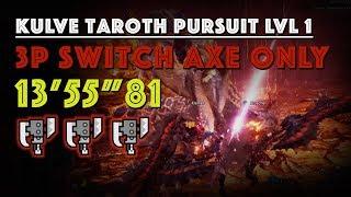 "3 player Kulve Taroth Pursuit lvl 1 Switchaxe only speedrun (13'55""81 MHW)"