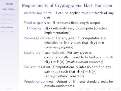 Properties of Hash Functions (CSS441, L18, Y15)
