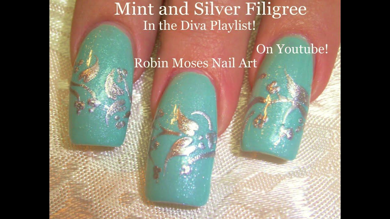 3 Nail Art Tutorials | DIY Easy Winter Nail Design | Mint and Silver ...