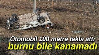 Kırıkkale'de Trafik Kazası! Otomobil 100 Metre Takla Attı, Burnu Bile Kanamadı