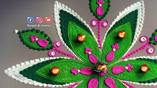 Easy Laxmi Pooja Rangoli by Sneha J | Big and Best Rangoli for Diwali Festival | Laxmi Pujan Rangoli