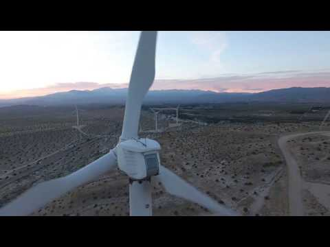 Wind Mill farm in Palm Springs drone 360 view