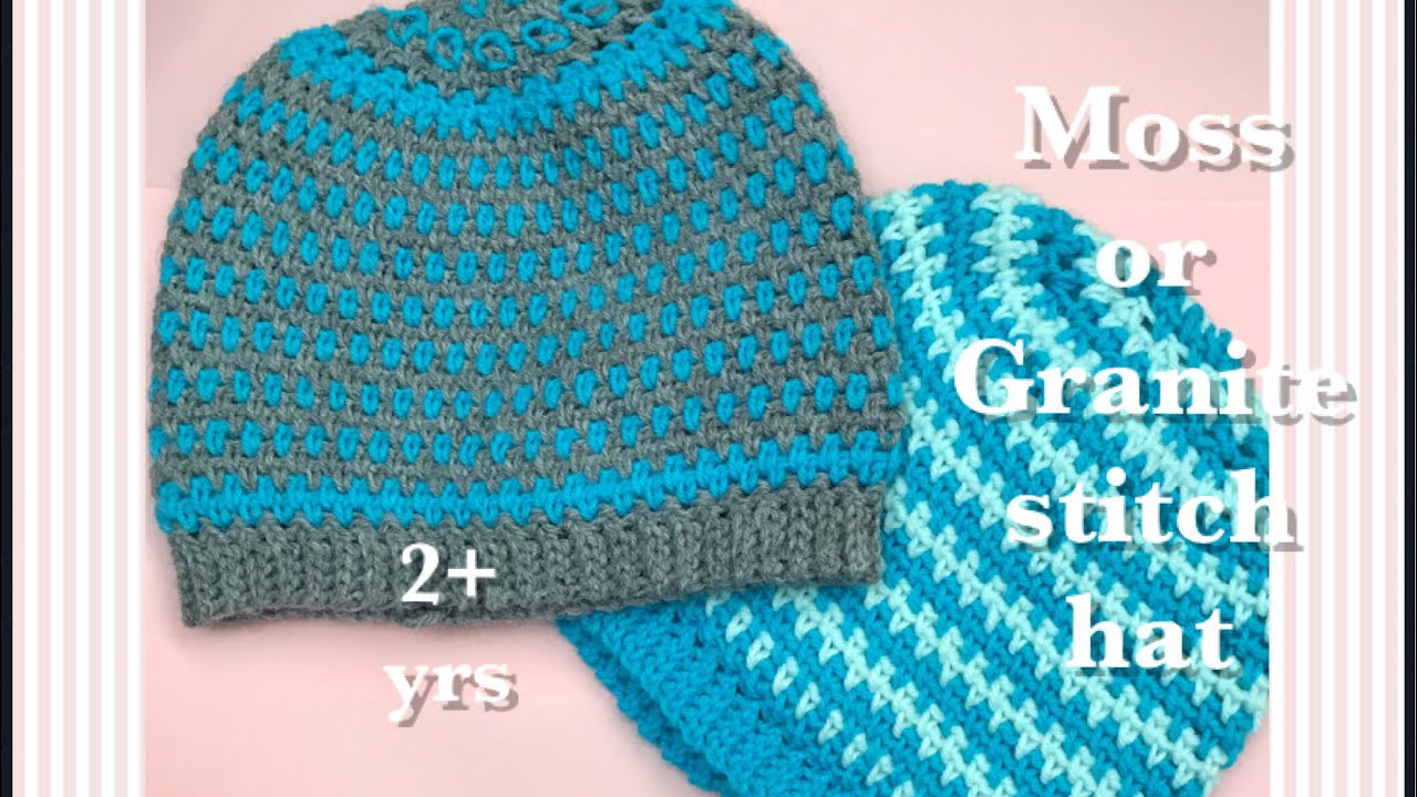 841f31e3db3 How to crochet Moss or Granite Stitch crochet hat for boys and girls 2+  years easy and fast  77