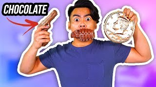 CHOCOLATE FOOD VS REAL FOOD 3! (Chocolate Gun, Grenade, Giant Penny)