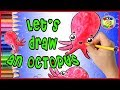 ❤KID ART TV❤ How to draw an Octopus 🐙 - Cartoon drawing and Animation