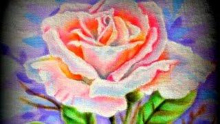 Vamos pintar uma Rosa – Rosa – Pintura em Tecido