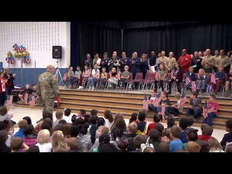 Military dad surprises his children at Virginia elementary school