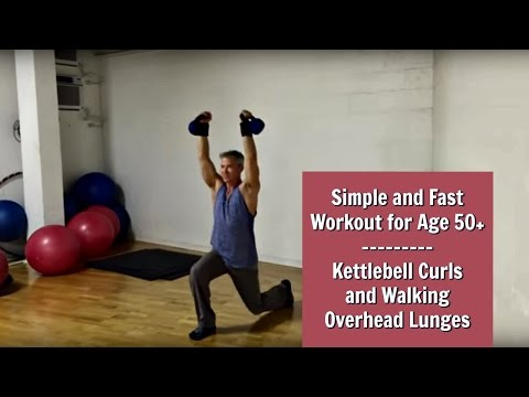 Kettlebell Curls and Walking Overhead Lunges