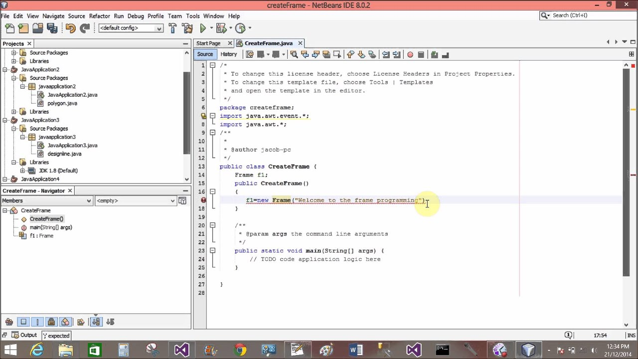How to create a Frame in Java AWT with Netbean IDE - YouTube