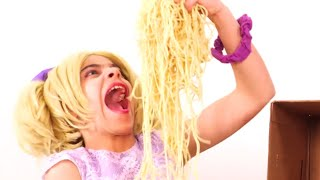 Too many Spaghettis 🍝 What's In The Box Challenge and more Kiddyzuzaa 👑Princesses in Real Life