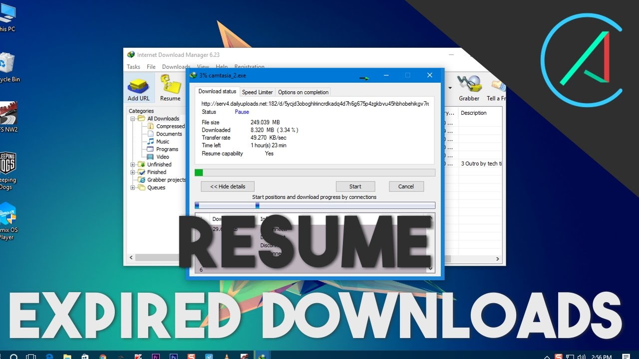 How To Resume Any Broken Expired Download Links Idm Etc Youtube