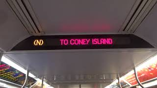 NYC Subway: R160 (N) Interior Destination Sign To Coney Island From 96th Street