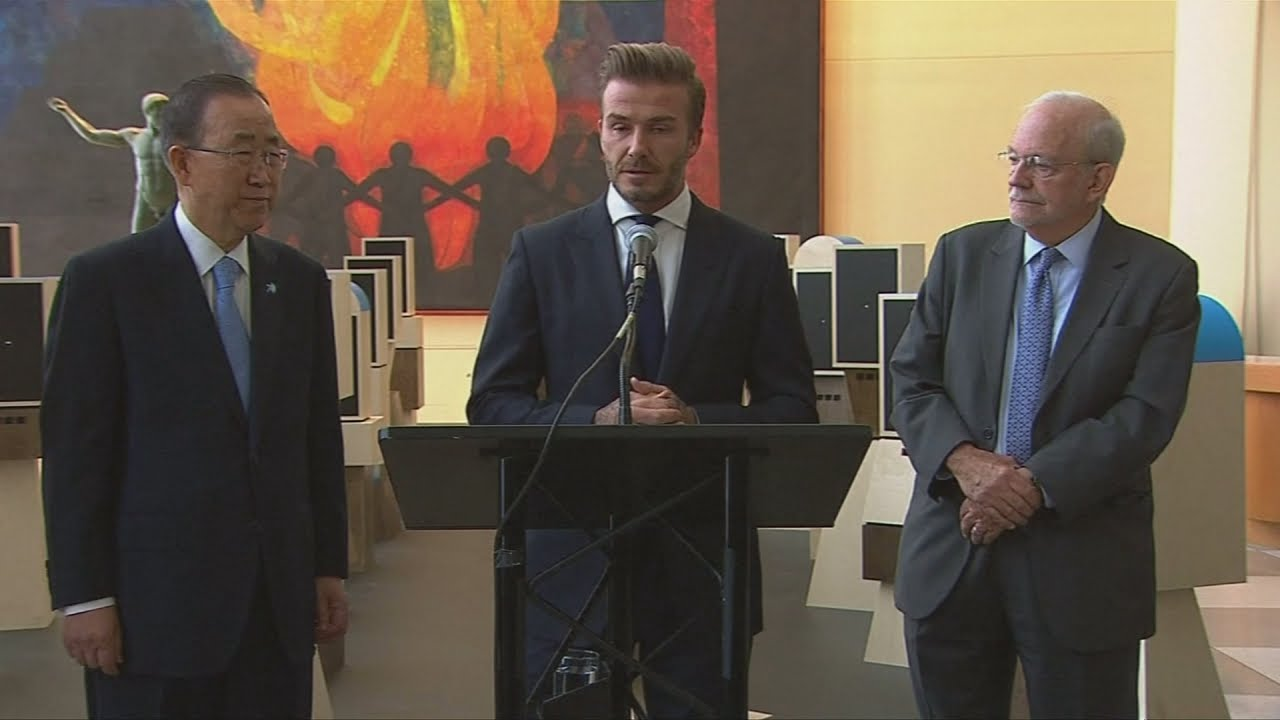 David Beckham close to tears in UN speech